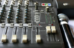 Studio audio mixer with microphone. Audio mixing console in a recording studio. Faders and knobs of a sound mixer royalty free stock photography