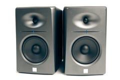 Studio Audio Monitors On White Stock Photography