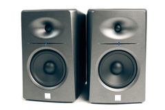 Studio audio monitors  on white. Studio audio monitors - high-end sound speakers,  on white Stock Photography