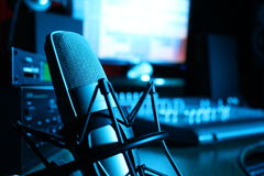 Studio of the audio recording. On a photo the studio of the audio recording is represented with an expensive apparatus Royalty Free Stock Photos