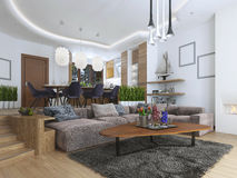 Studio avec le salon et la salle à manger dans un contempor Photo stock