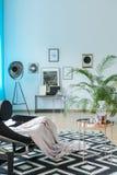 Studio avec le tapis de couleur de contraste image libre de droits