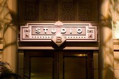 Studio B. Studio Sign above doors entering filming studio Stock Images