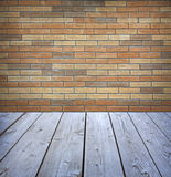 Studio background with brick wal Royalty Free Stock Image