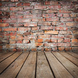 Studio background with brick wal Stock Images