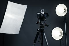 Studio background with light accessories Royalty Free Stock Photo