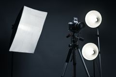Studio background with light accessories Stock Photo
