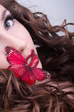 Studio beauty portrait with red butterfly stock image
