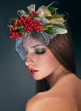 Studio beauty portrait with rowan Royalty Free Stock Photography