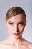 Studio Beauty Shot: Closeup Portrait Of Beautiful Blonde Girl Royalty Free Stock Image