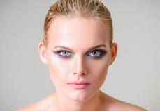 Studio Beauty Shot: Closeup Portrait Of Beautiful Young Woman Royalty Free Stock Photography