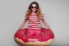 Studio bright summer fashion portrait of stylish beautiful woman Stock Image