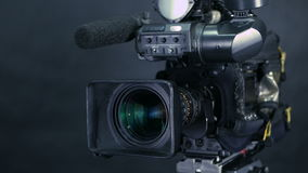 Studio broadcasting camera. Slider shot. stock video footage