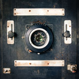 Studio camera. Old wooden vintage studio camera Stock Photography
