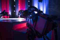 Studio camera at the concert. Television shooting royalty free stock photography