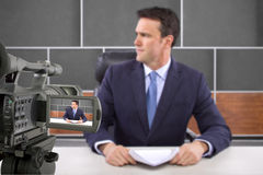 Studio Camera Filming Reporter Royalty Free Stock Photo