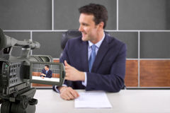 Studio Camera Filming Reporter Royalty Free Stock Photos