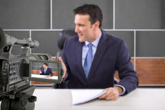 Studio Camera Filming Reporter Stock Image