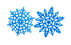 Studio close-up of a bright blue snowflake ornament Royalty Free Stock Photos