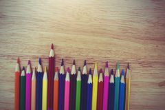 A studio close up photo of coloring pencils Royalty Free Stock Photography