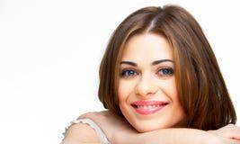 Studio close up  portrait of smiling woman, isolat Stock Photo