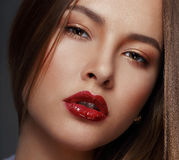 Studio Close Up Portrait of Young Sensual Beauty royalty free stock images