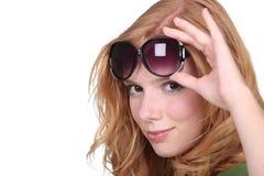 Studio closeup of young beautiful redhead Stock Images