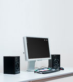 Studio Computer. A studio computer with special video editing keyboard and studio monitor royalty free stock photos