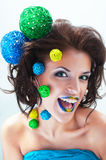 Studio conceptual female funny portrait Royalty Free Stock Photo