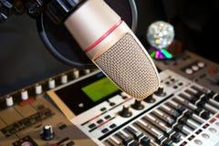 Studio d'enregistrement avec le palonnier sain Images libres de droits