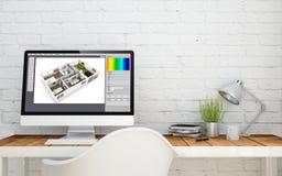studio de briks avec la conception intérieure de copyspace Photos libres de droits