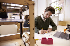 Studio de conception de Drawing Sketch In 3D de concepteur Image stock
