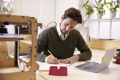 Studio de conception de Drawing Sketch In 3D de concepteur Image libre de droits