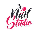 Studio de manucure Clou Logo Beauty Vector Lettering principal Calligraphie faite main faite sur commande illustation de vecteur Images stock