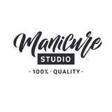 Studio de manucure Clou Logo Beauty Vector Lettering principal Calligraphie faite main faite sur commande illustation de vecteur Photographie stock libre de droits