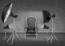 Studio de photo de vecteur avec le fauteuil et les softboxes Image libre de droits