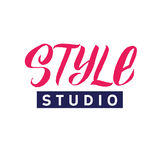Studio de style Logo Beauty Vector Lettering Calligraphie faite main faite sur commande illustation de vecteur Photo libre de droits