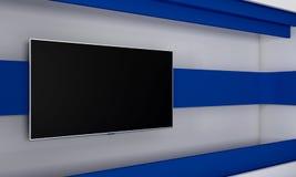 Studio de TV Contexte pour des émissions de TV TV sur le mur Studio d'actualités Le contexte parfait pour toute écran vert ou vid Photographie stock