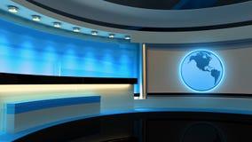 Studio de TV Studio d'actualités Studio bleu Le contexte parfait Photo stock