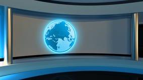 Studio de TV Studio d'actualités Studio bleu Le contexte parfait pour Image stock