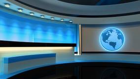 Studio de TV Studio d'actualités Studio bleu Le contexte parfait pour Photos stock