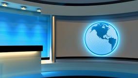 Studio de TV Studio d'actualités Studio bleu Le contexte parfait pour Images stock