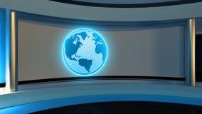 Studio de TV Studio d'actualités Studio bleu Le contexte parfait pour Photos libres de droits