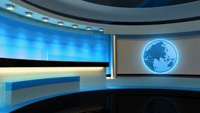 Studio de TV Studio d'actualités Studio bleu Le contexte parfait pour Images libres de droits