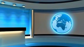 Studio de TV Studio d'actualités Studio bleu Le contexte parfait pour Photographie stock