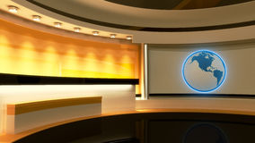 Studio de TV Studio d'actualités Studio jaune Globe Photos stock