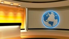 Studio de TV Studio d'actualités Studio jaune Globe Photographie stock