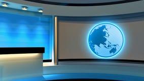 Studio de TV Studio d'actualités Studio jaune Globe Photos libres de droits