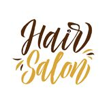 Studio dei capelli Logo Beauty Vector Lettering Calligrafia fatta a mano su ordinazione Illustrazione di vettore Fotografia Stock