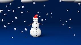 Studio del blu del pupazzo di neve Immagini Stock